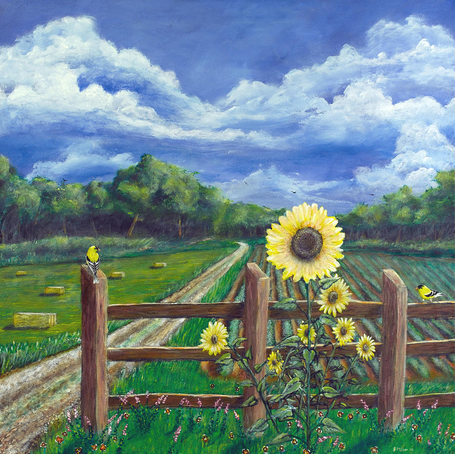 Finch Painting - Finch Farm by Jim Miller