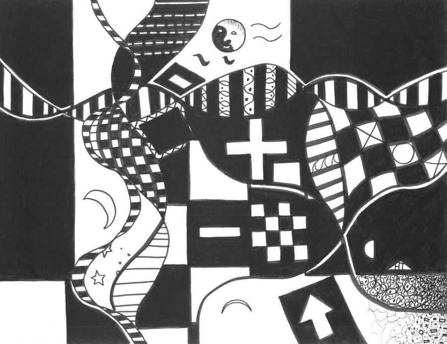 Abstract Drawing - Finding The One Big Plus by Helena Tiainen