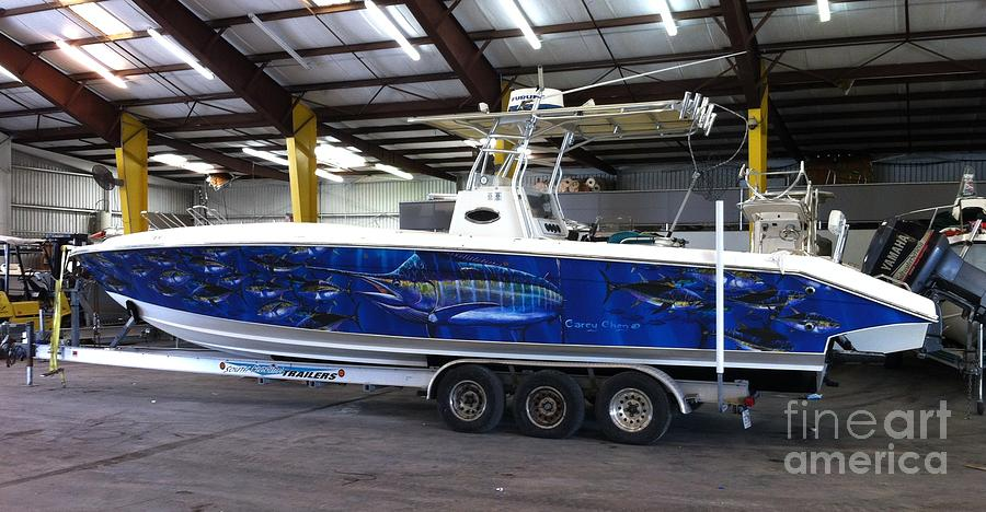 Boat Wrap Digital Art - Fine Art Boat Wraps by Carey Chen