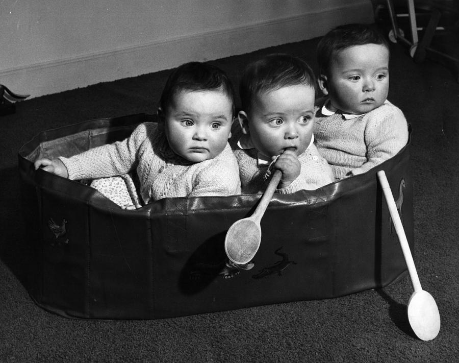 Horizontal Photograph - Finslater Triplets by Housewife
