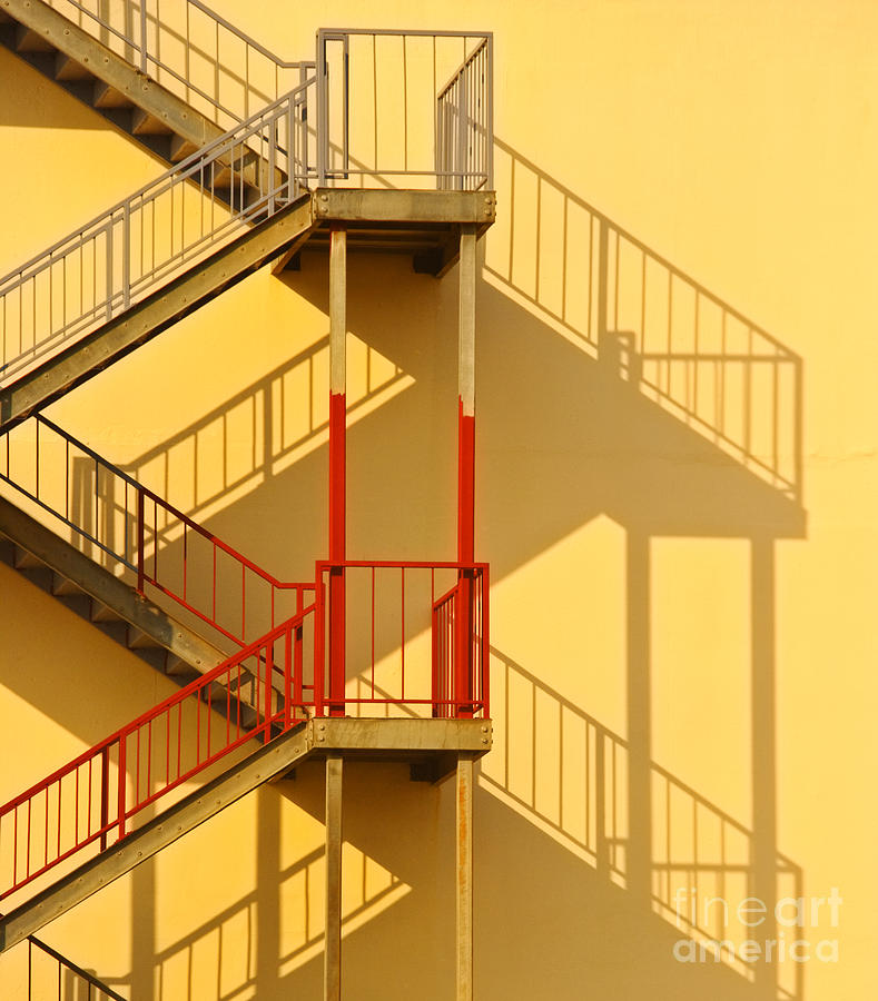 Architectural Detail Photograph - Fire Escape And Shadow by David Buffington