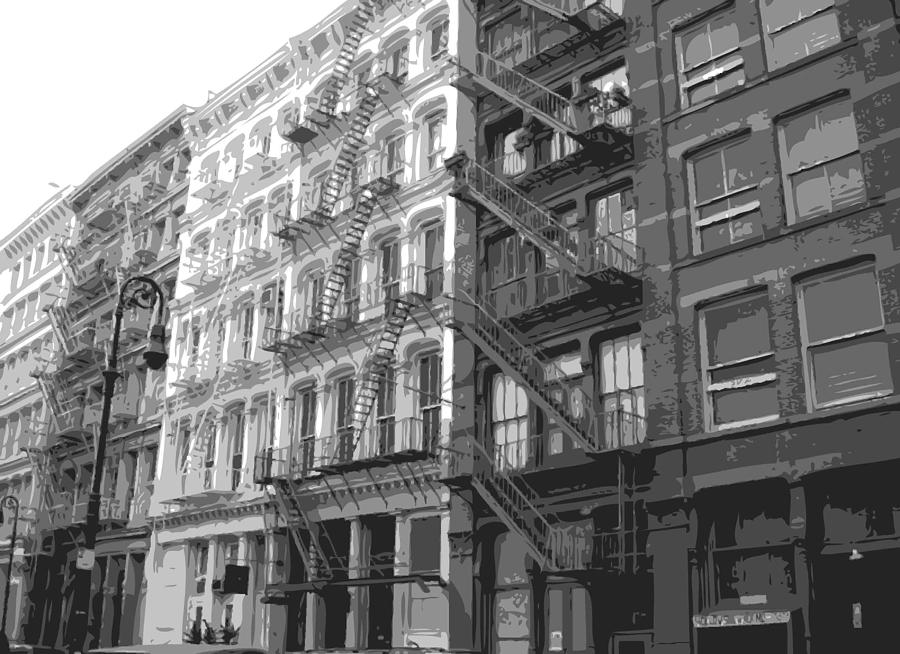 New York City Fire Escapes Photograph - Fire Escapes Bw6 by Scott Kelley