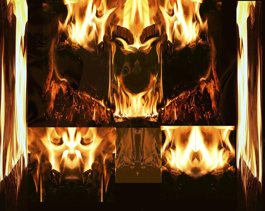 Fire Digital Art - Fire Faces by Janet Kearns