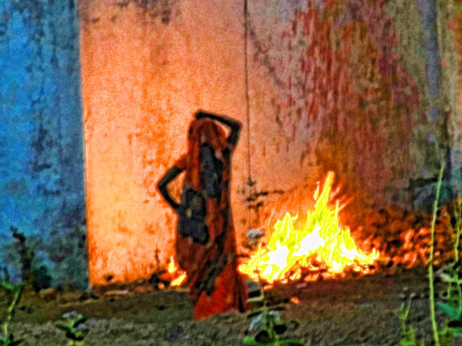 Women Photograph - Fire by Makarand Purohit