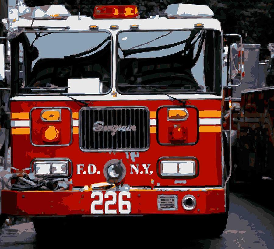New-york-gallery-print New York City New-york New-york-photograph Photograph - Fire Truck Color 16 by Scott Kelley