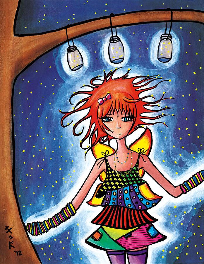 Anime Painting - Firefly Girl by Jen Kiddo