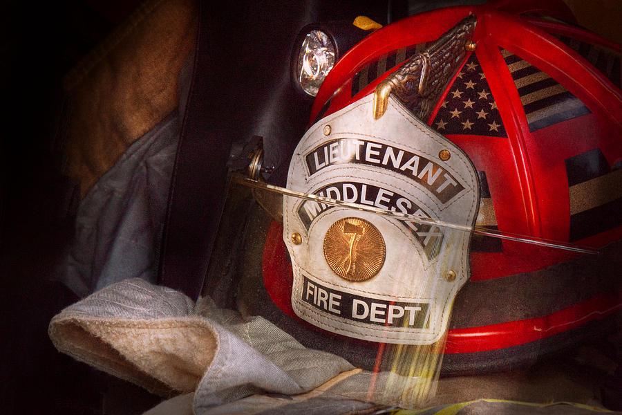 Fireman Photograph - Fireman - Hat - The Lieutenants Cap  by Mike Savad