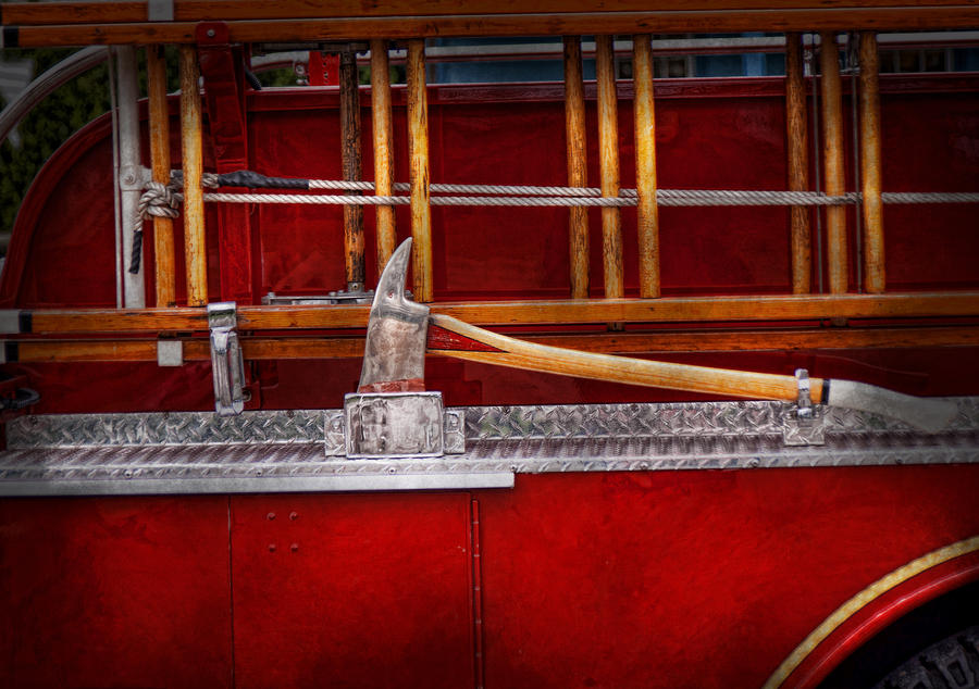 Hdr Photograph - Fireman - Nice Axe  by Mike Savad