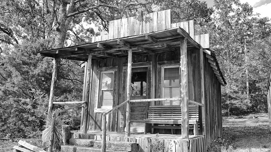 Fireman Cottage -ouachita Mountains Photograph - Fireman Cottage B And W by Douglas Barnard