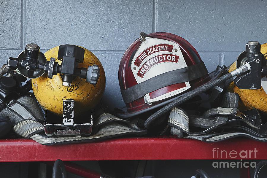 Accomplishment Photograph - Fireman Helmets And Gear by Skip Nall