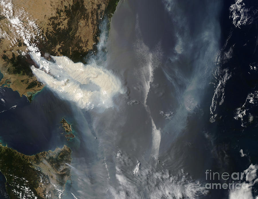 Australia Photograph - Fires And Smoke In Southeast Australia by Stocktrek Images