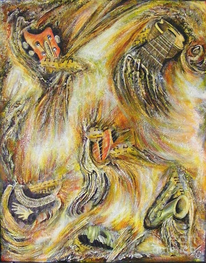 Musical Instruments Painting - Fires Of Worship by Lisa Golem