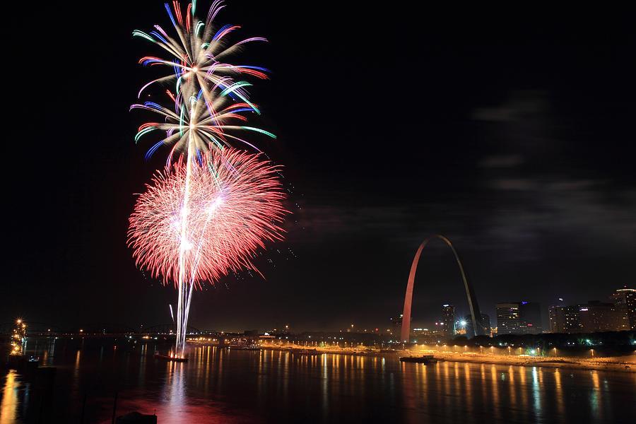 Fireworks Photograph - Fireworks From Eads Bridge In Saint Louis by Scott Rackers