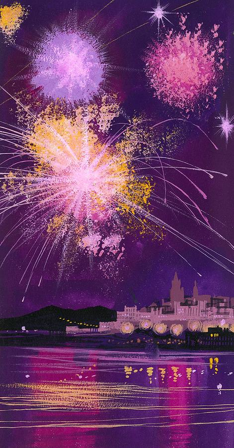 Fireworks In Malta Painting - Fireworks In Malta by Angss McBride