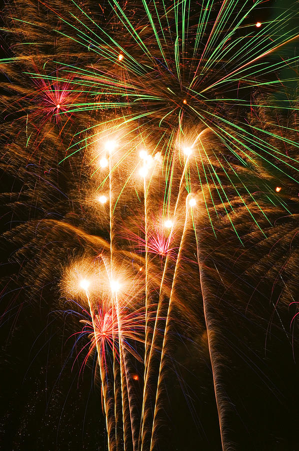 4th Of July Photograph - Fireworks In Night Sky by Garry Gay