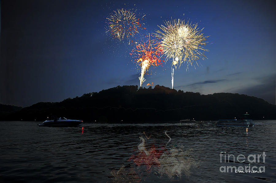 Fireworks Photograph - Fireworks On Lake by Dan Friend