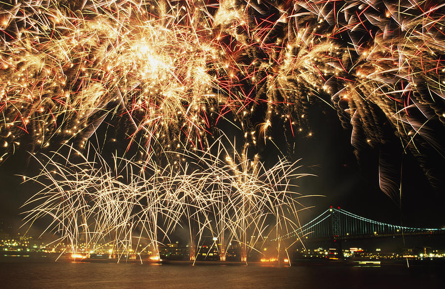 Buildings Photograph - Fireworks Over Harbour by Axiom Photographic