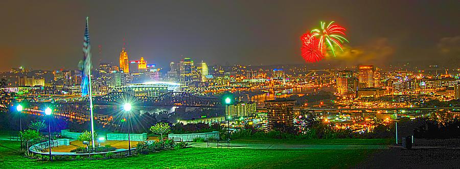 Fireworks Photograph - Fireworks Over The City Skyline by Randall Branham