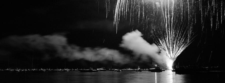 Panoramic Photograph - Fireworks Tahoe Ca by Isak Hanold