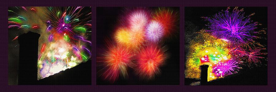 Fireworks Photograph - Fireworks Triptych by Steve Ohlsen