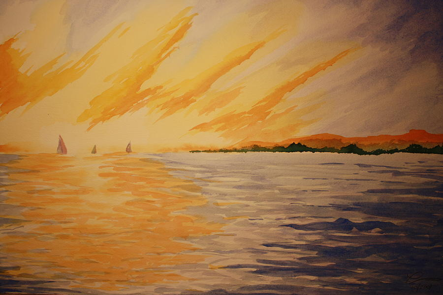 Boat Painting - Firey Sunset by Jeff Lucas
