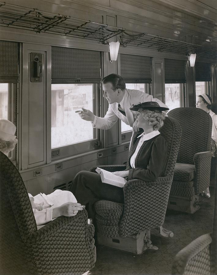 History Photograph - First Class Passengers In An by Everett