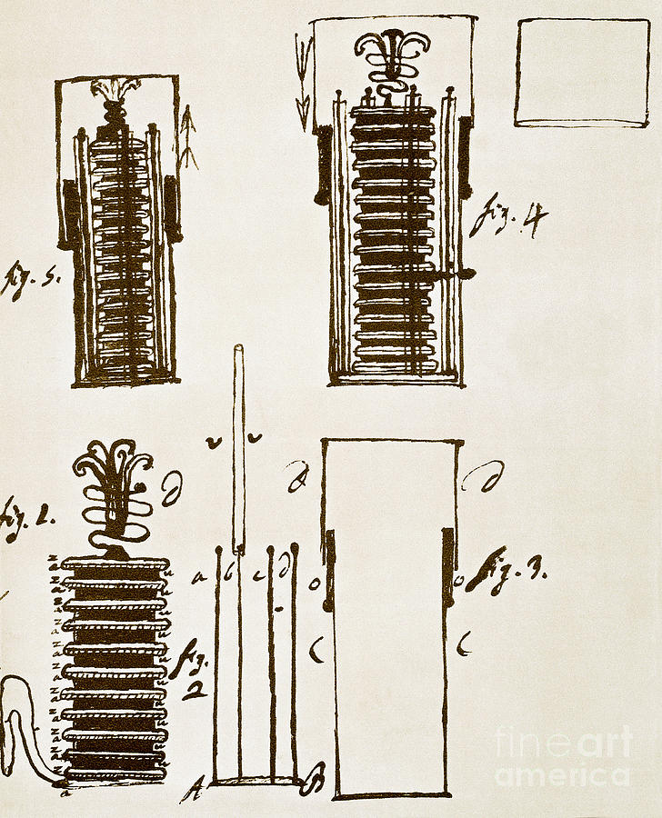 Drawing Photograph - First Electric Battery by Science Source