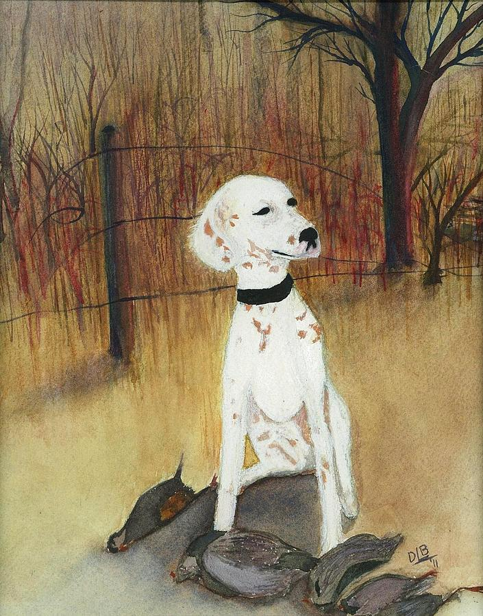 Dog Painting - First Hunt by David Bartsch