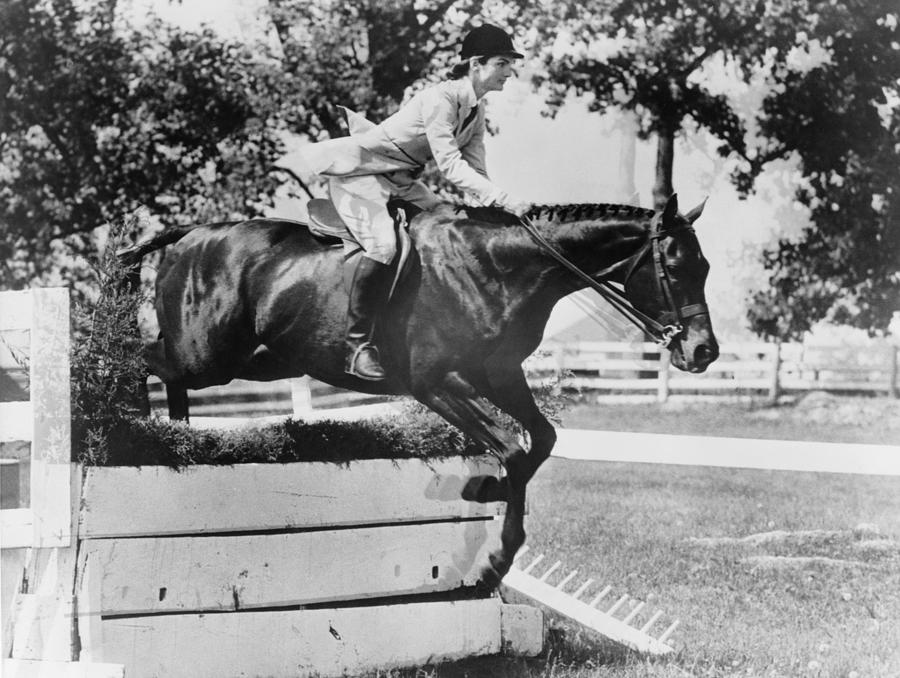 History Photograph - First Lady Jacqueline Kennedy, Riding by Everett
