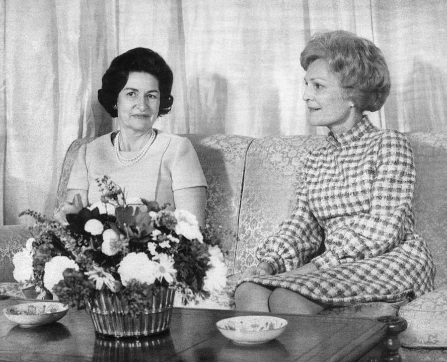 1960s Photograph - First Lady Lady Bird Johnson Meets by Everett