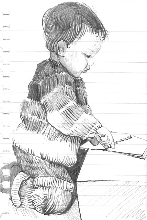 Boy Drawing - First Lines by Amy Bernays