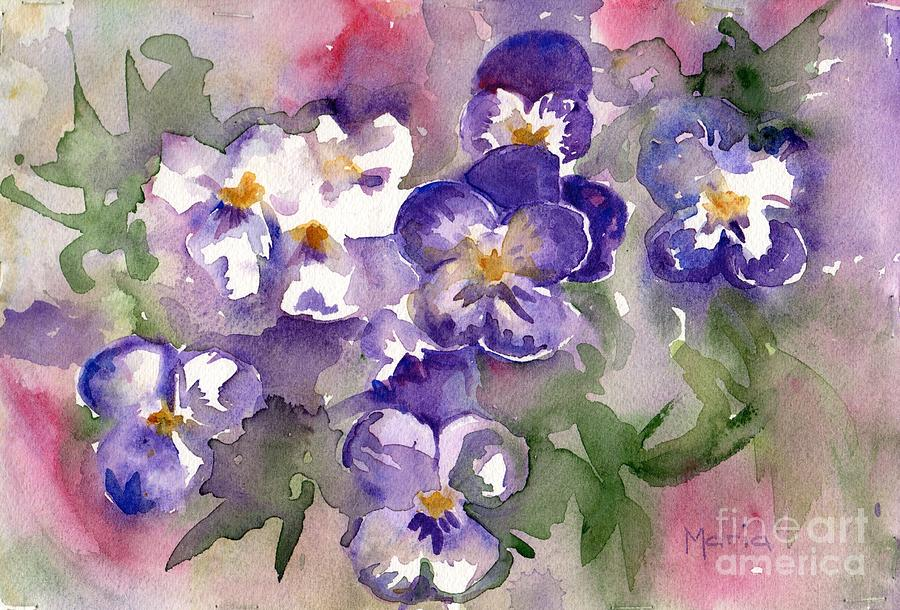 Johnny Jump Up Painting - First Sign Of Spring by Marias Watercolor