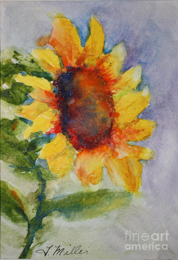 Yellow Painting - First Sunflower by Terri Maddin-Miller