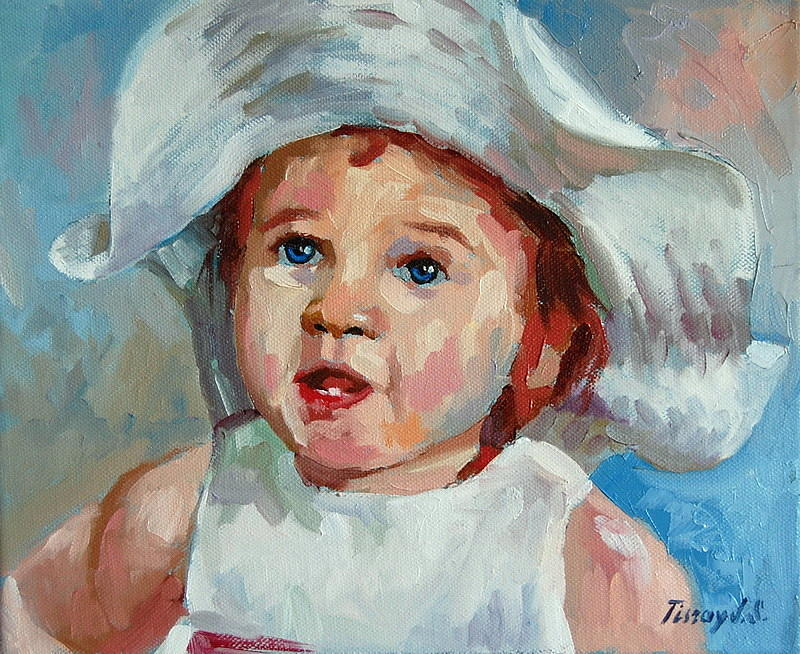 Portrait Painting - First Tooth by Joe Tiszai