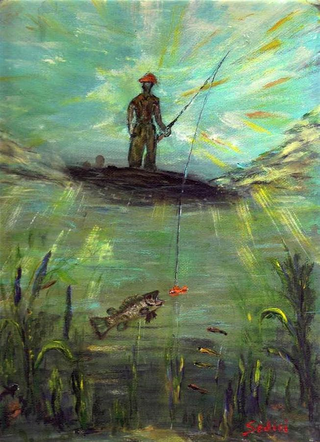 Bass Fishing Painting - Fish Perspective  by Mary Sedici