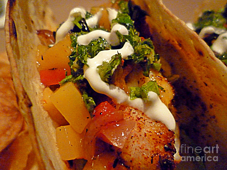Fish Photograph - Fish Taco With Mango Salsa by Renee Trenholm