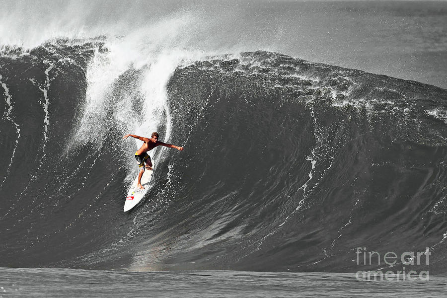 Fisher Heverly Photograph - Fisher Heverly Surfing At The Banzai Pipeline by Paul Topp