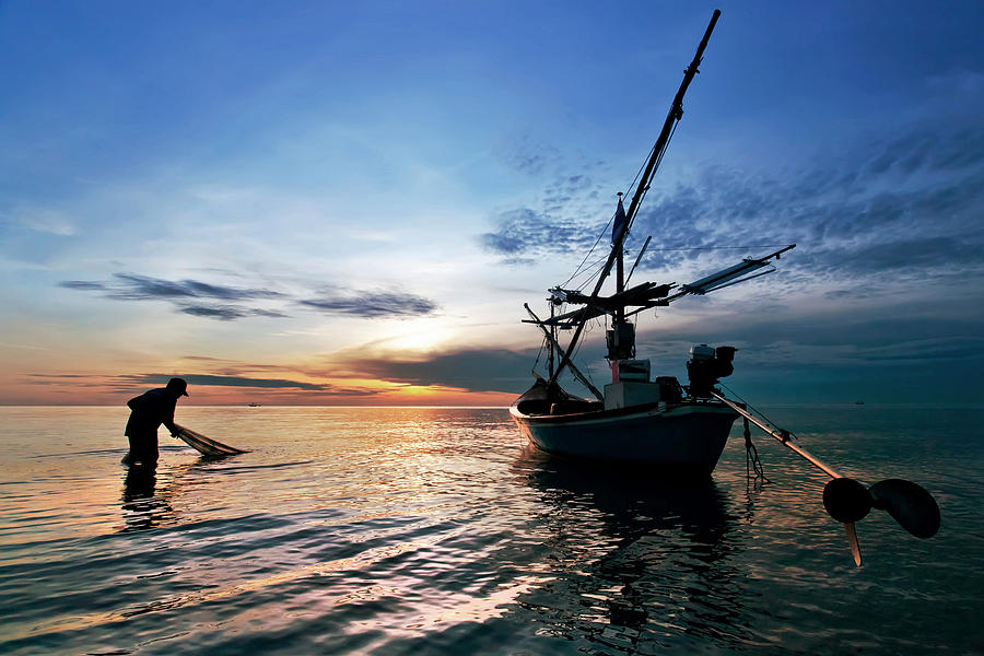 Fisherman Photograph - Fisherman Life Huahin Thailand by Arthit Somsakul