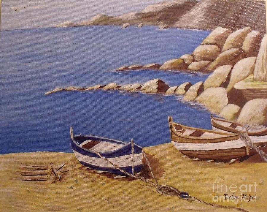 Seascape Painting - Fishermans Boats by Debra Piro