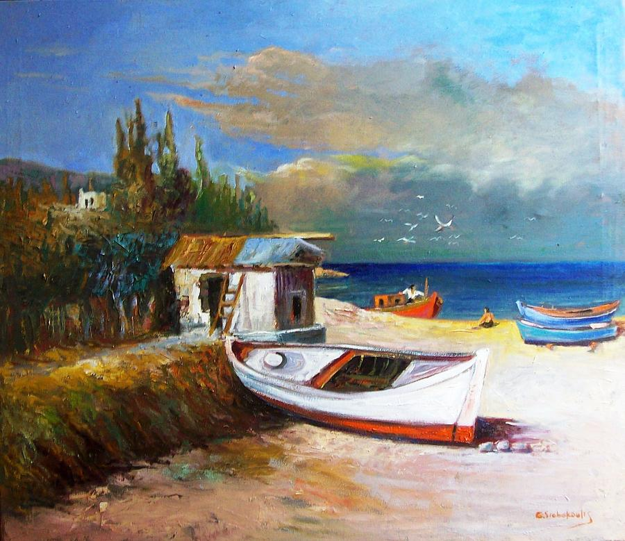Fisherman's  Place.boats.calm Day .fisherman's Cottage .boats  Painting - Fishermans Cottage by George Siaba