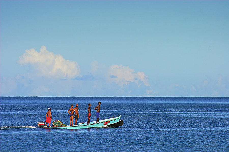 Fishermen and Canoe- St Lucia by Chester Williams