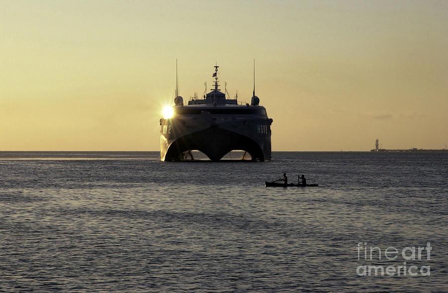 Horizontal Photograph - Fishermen Paddle Their Canoe by Stocktrek Images