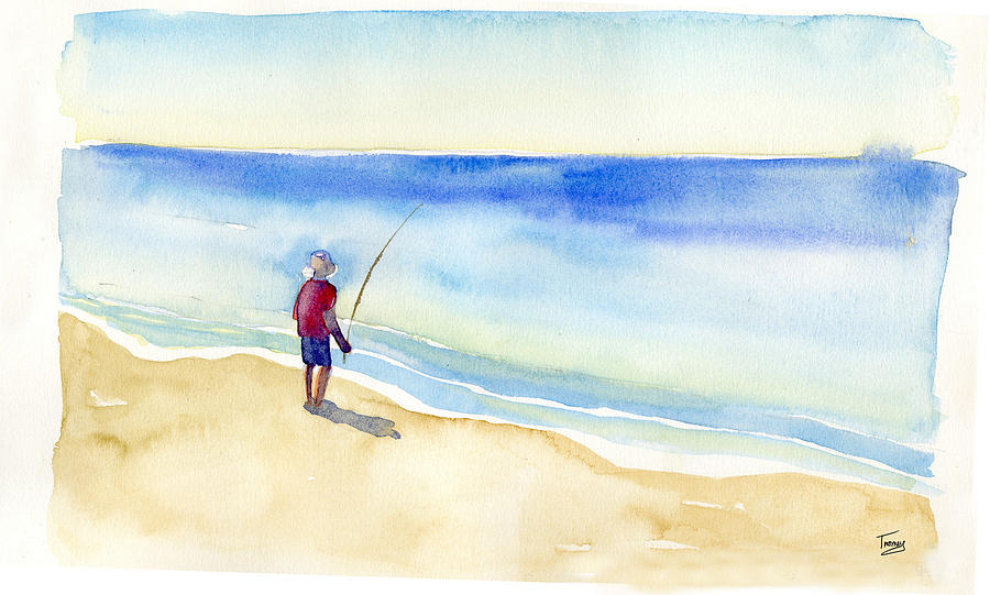 Fishing Alone Painting