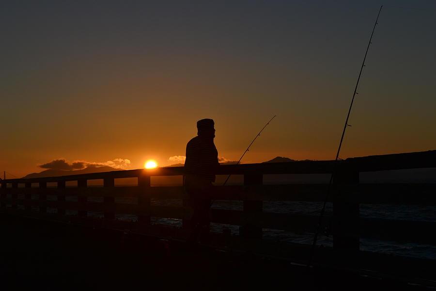 Fishing Man Photograph - Fishing And Sunset  by Saifon Anaya