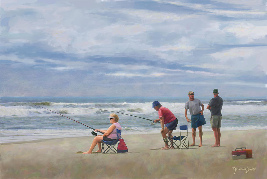 Beach Painting - Fishing At The Beach by Norman Drake