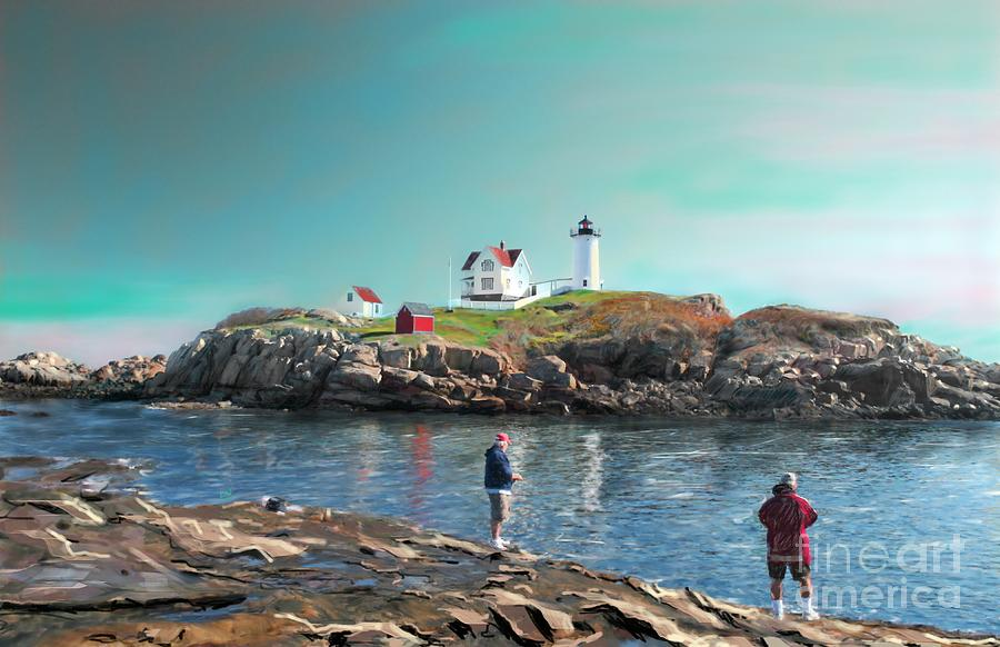 Lighthouse Painting - Fishing At The Nubble Lighthouse by Earl Jackson