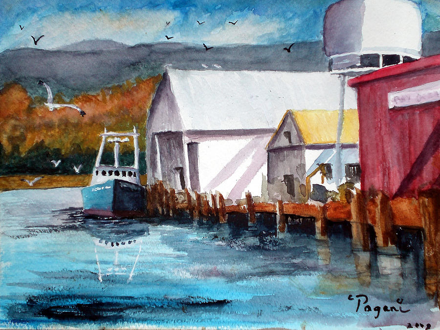 Fishing boat and dock watercolor painting by chriss pagani for Fishing boat painting