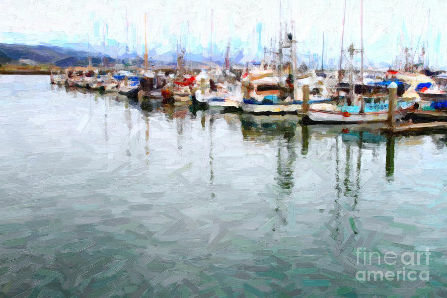 Transportation Photograph - Fishing Boats At The Dock . 7d8187 by Wingsdomain Art and Photography
