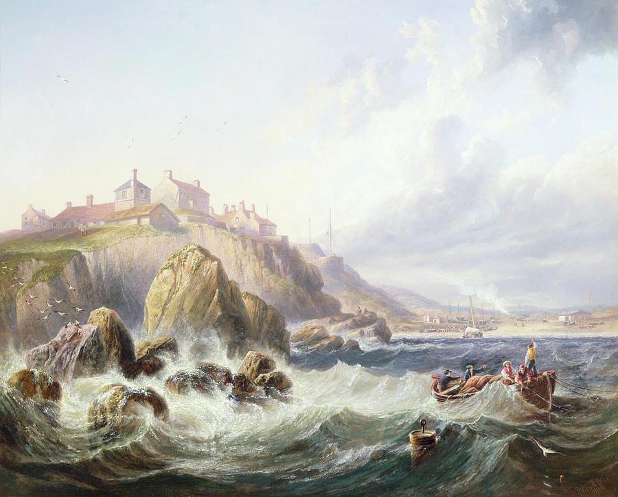 Seaside Painting - Fishing Boats Off Scotland by John Wilson Carmichael