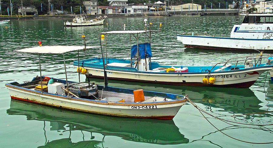 Fishing Photograph - Fishing Boats - Okinawa Japan by Jocelyn Kahawai